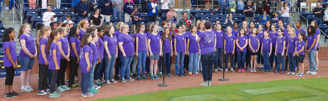 CCGC Girls Singing at Durham Bulls Game